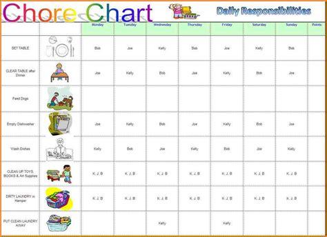 chore calendar template chore chart template authorization letter pdf
