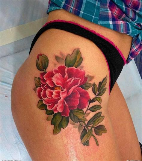 big thigh tattoos large peony thigh tattoomagz
