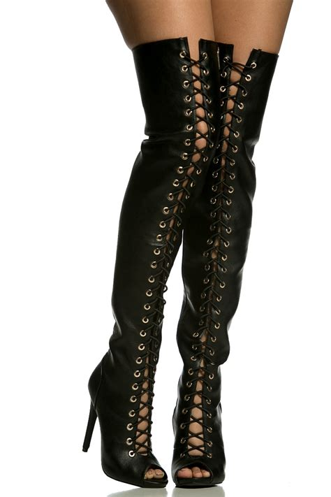 black faux leather lace up thigh high boots cicihot