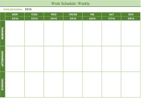 monthly employee schedule template employee schedule template