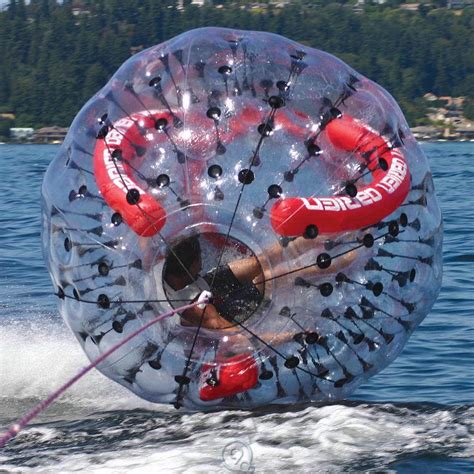 disco tube behind boat obrien barf ball spinning tow ball human sized water toy