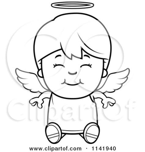 boy angel coloring page cartoon clipart of a black and white smiling sitting angel