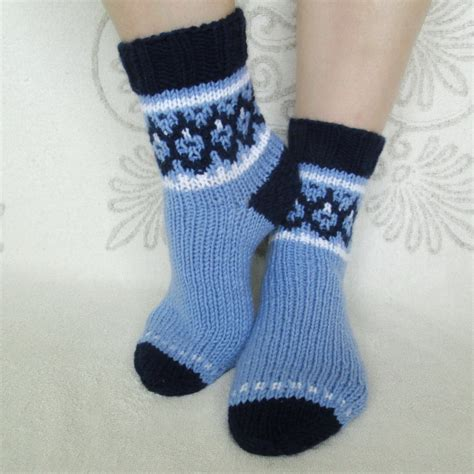 Handmade Knitted - knit socks wool socks handmade blue socks warm by
