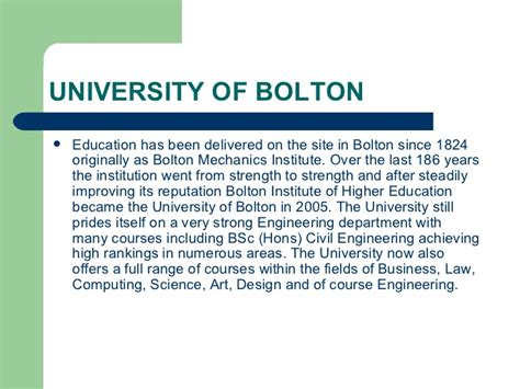 Universities In Uk For Mba Without Gmat And Work Experience by Of Bolton Study Mba In Uk
