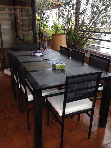 comedor de terraza comedor de fierro modelo puente alto 8 sillas rusti home