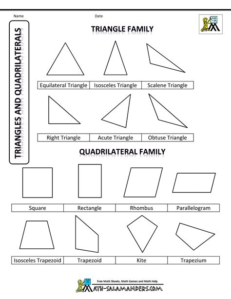 shapes worksheet with names family tree template quadrilateral family tree template