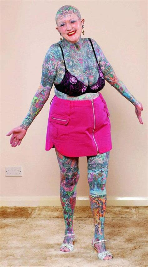 full body tattoo old woman funny ugly people