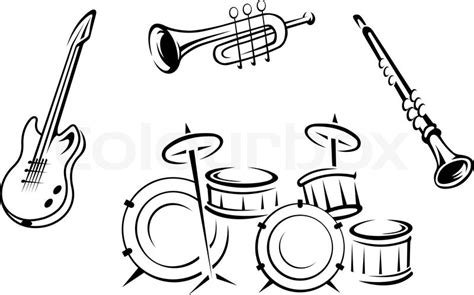 set of musical instruments stock vector colourbox