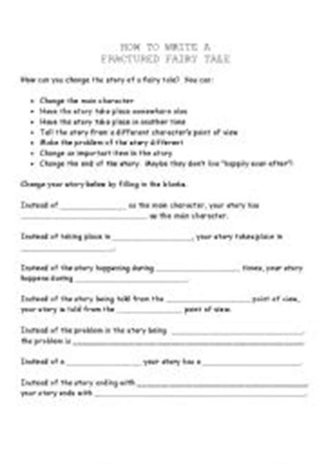 fractured tale worksheet how to write a fractured tale