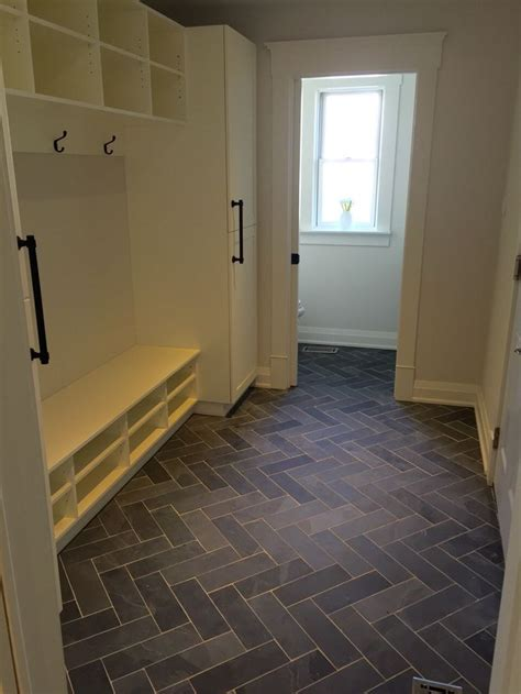 mudroom floor ideas mudroom powder room flooring slate tile done in the herringbone pattern projects flooring
