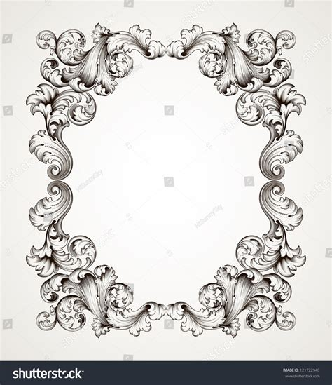 frame pattern decor vector vintage border frame engraving with retro ornament