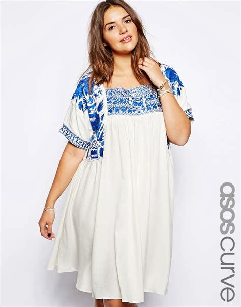 embroidered swing dress asos curve asos curve premium embroidered swing dress at