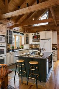 Cabin Kitchen Cabinets Because They Felt Closed In When Visiting Log Homes With A Loft Above The Kitchen The Woolards