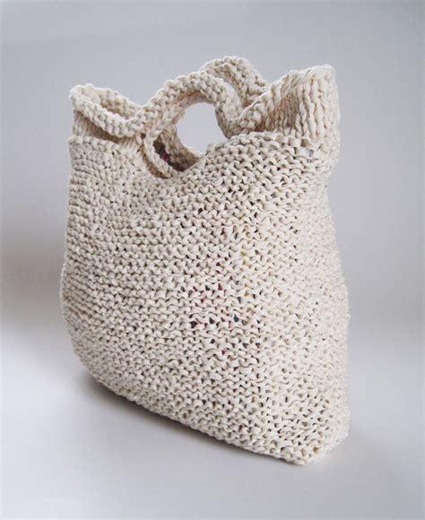 knitted purse crocheted t shirt yarn tote bag k2tog