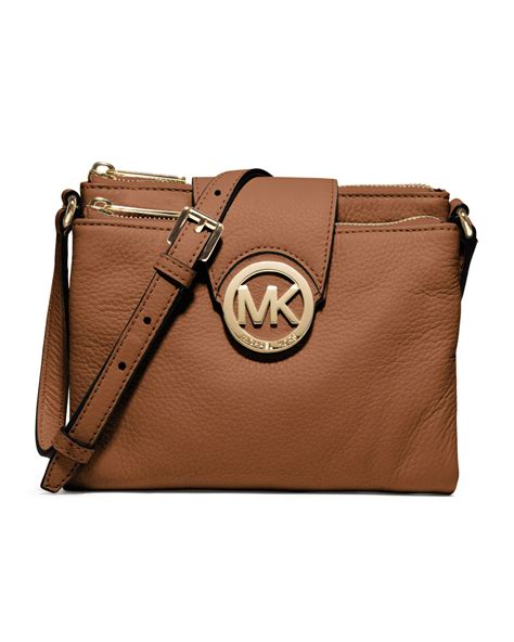 Michael Kors Fulton Lunggage michael kors michael large fulton pebbled crossbody in brown luggage lyst