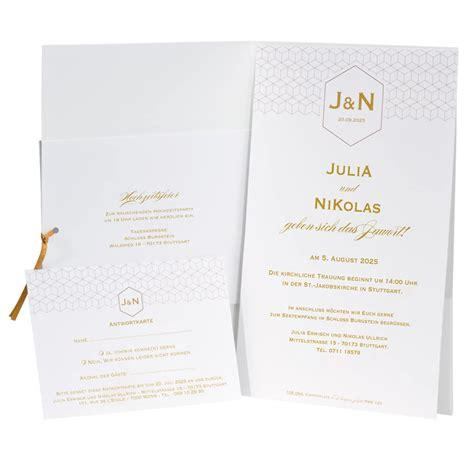 Einladungskarten Hochzeit Einsteckkarte by Hochzeitseinladung Quot Clea Quot Mit Muster In Ros 233 Gold Und