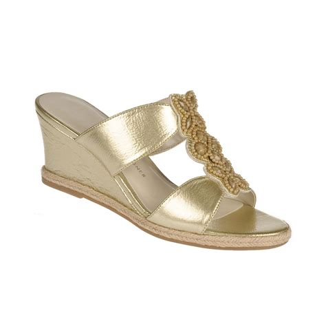 Aigner Gold etienne aigner haste wedge sandals in gold lyst