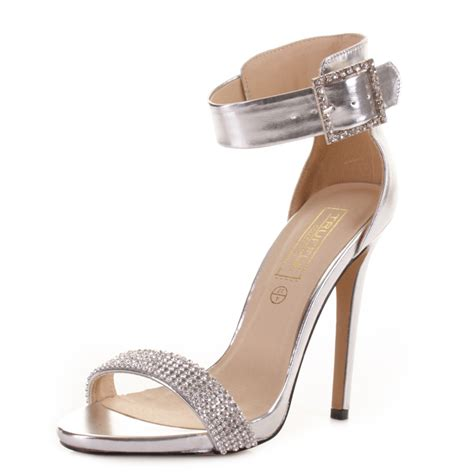 sandals high heel womens silver high heel diamante buckle ankle