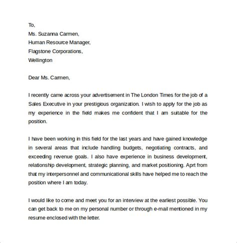 Sales Executive Cover Letter Exles by Sle Sales Cover Letter Template 9 Free Documents In Pdf Word