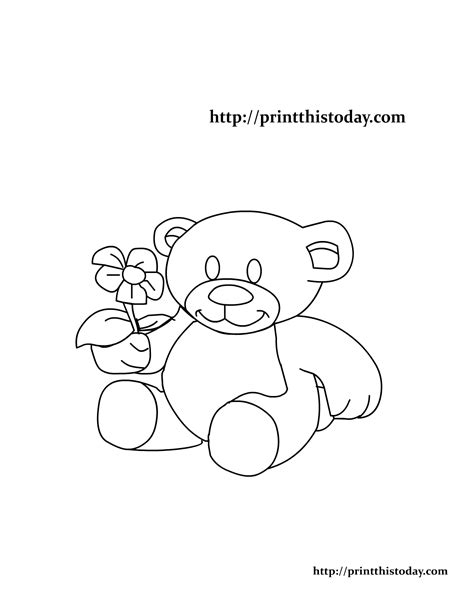 teddy bear with flower coloring page free printable teddy bear coloring pages