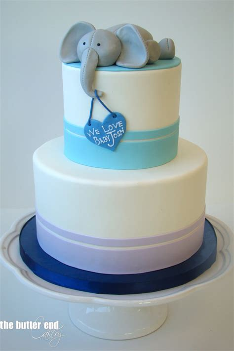 Elephant Baby Shower Cake by Featured Cake Gallery The Butter End Cakery
