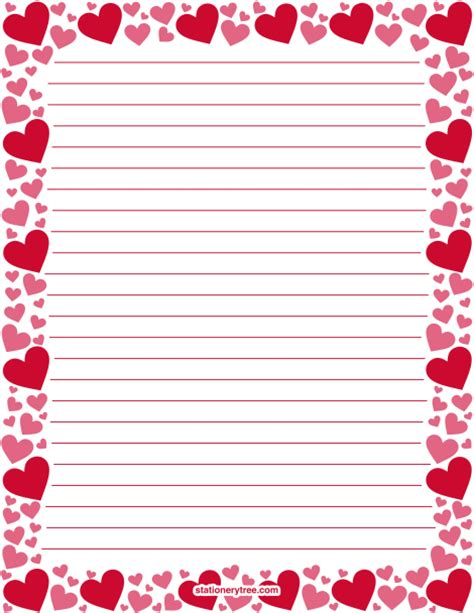 printable red and pink heart stationery and writing paper