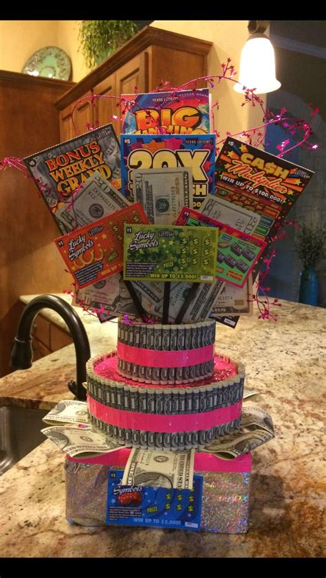 Money Cake With Lottery Tickets Arts Crafts