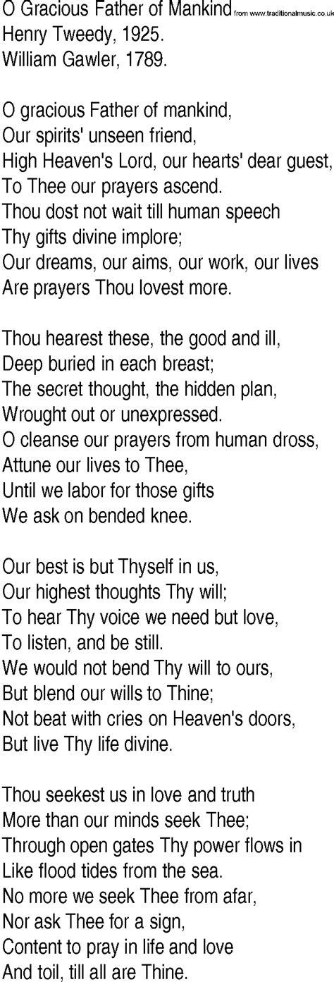 lyrics by mankind hymn and gospel song lyrics for o gracious of