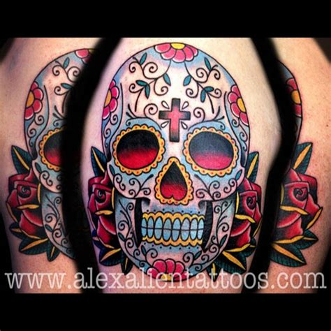 traditional sugar skull done yesterday alien nyc tat