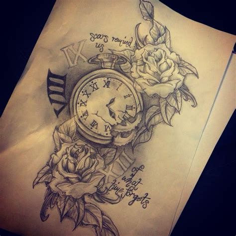 tattoo of us watch best 25 clock and rose tattoo ideas on pinterest