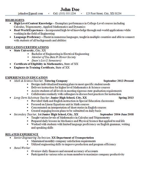 sensational high school resume sles junior high school resume exle math and science