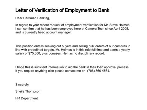 Mortgage Verification Letter employment confirmation letter for bank loan cover