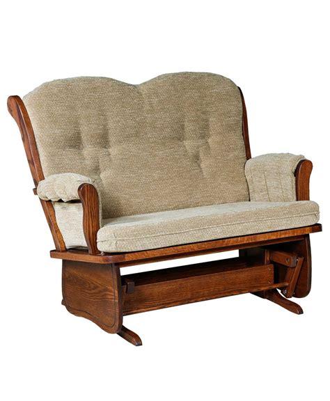 living room glider swan back loveseat glider amish direct furniture