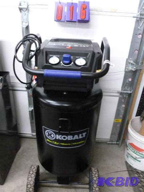 kobalt 30 gallon air compressor kobalt 20 gallon 1 8 hp air compressor 150 p sns auctions 119 wood working tools