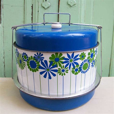Tin Kitchen Canisters vintage cake and pie carrier triple decker in blue by