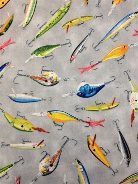Fishing Quilt Fabric by Fishing Lure Bass Tackle Fly Fish Rapala Heddon Cotton