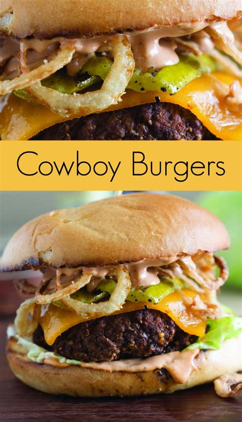 cowboy burger recipe with grilled pickles and crispy