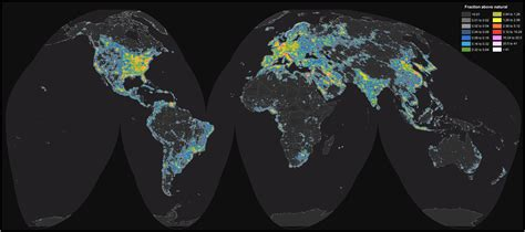 detailed map of light pollution around the world