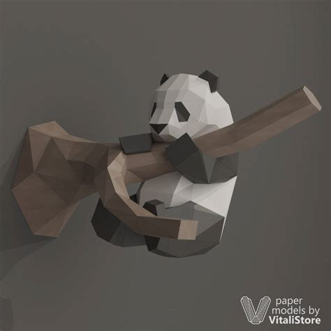 Panda Papercraft - diy papercraft panda paper craft panda diy gift kit wall
