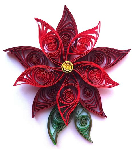 quilling christmas ornament patterns paper spiral quilled poinsettia flower ornament