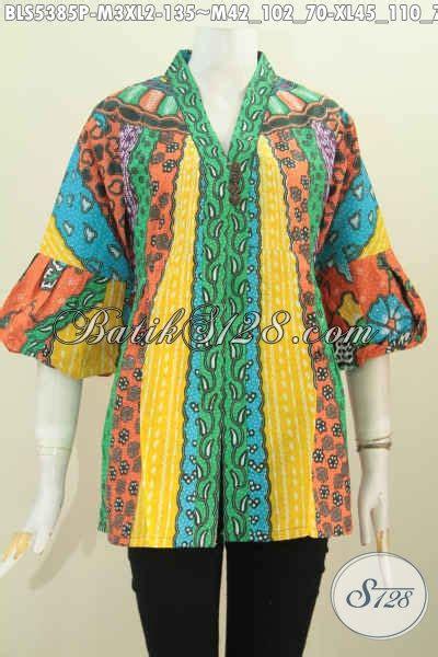 Batik Printing Bahan Halus Model Banyak Btm01011 produk terbaru busana blus dengan kancing banyak busana batik wanita model kartini berpadu