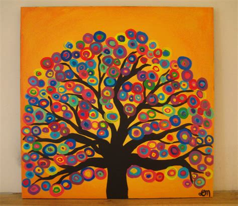 tree original original tree painting sunset yellow background with