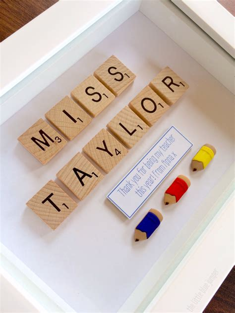 scrabble gift personalised teachers gift scrabble style 7x5 box