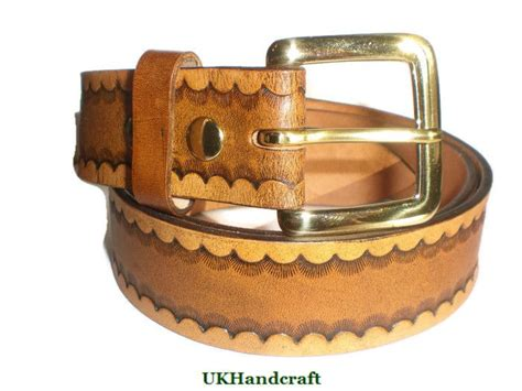 Handmade Belts Uk - handmade leather tooled belt