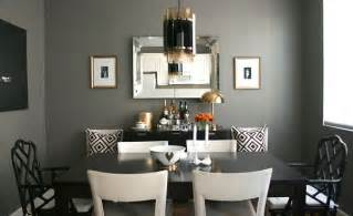 chic dining room design with gorgeous dark gray walls