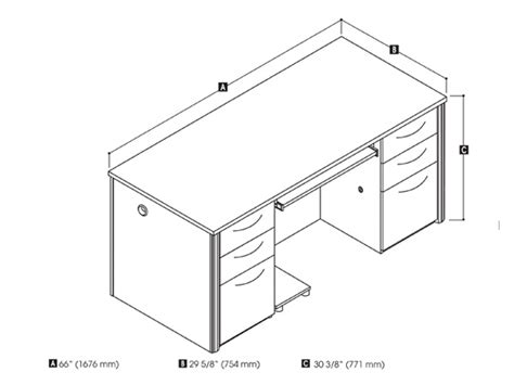 desk dimensions in embassy 2 pedestal desk by bestar smart furniture