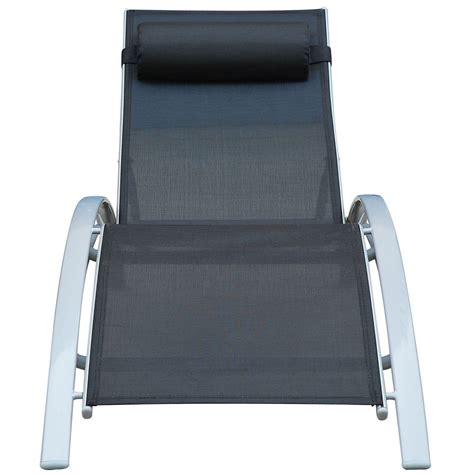 Reclining Chaise Lounge Chair Outsunny Patio Reclining Chaise Lounge Chair With Cushion Black And White