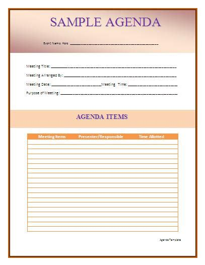 agenda template word free agenda templates wordtemplateshub
