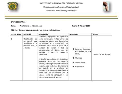 ejemplo de cartas descriptivas de educacion preescolar carta descriptiva doctora silvia completas
