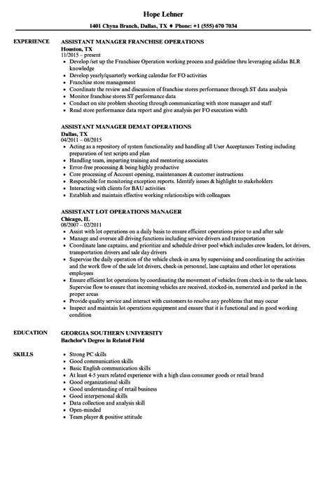 Assistant Operations Manager Sle Resume by Assistant Manager Manager Operations Resume Sles Velvet